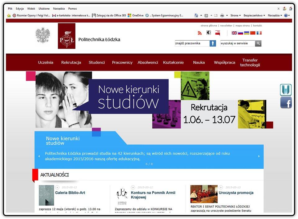 Zrzut strony internetowej: p.lodz.pl