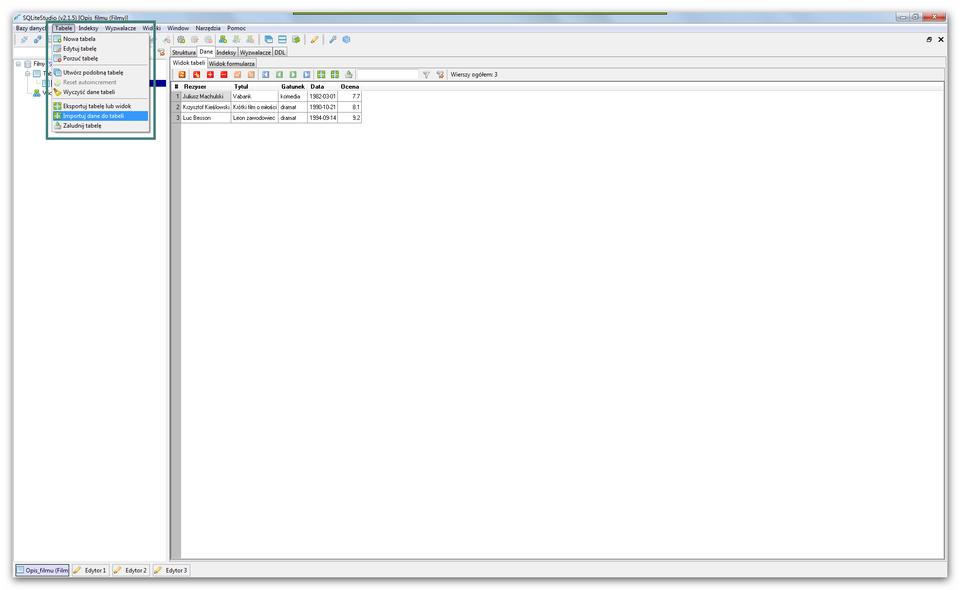 Animacja: Import danych zplików csv do tabeli bazy danych