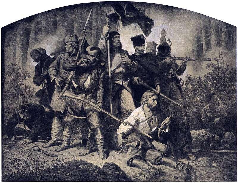 Wcentrum obrazu widoczna jest uzbrojona grupa ludzi powstańców