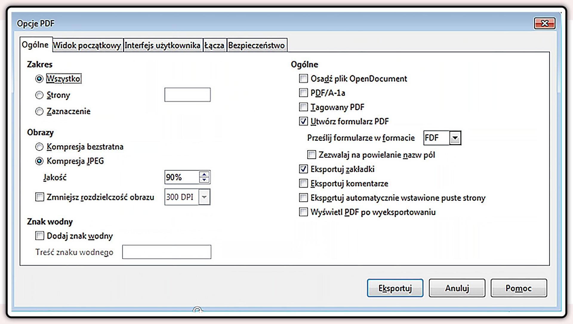 Zrzut okna: Opcje PDF
