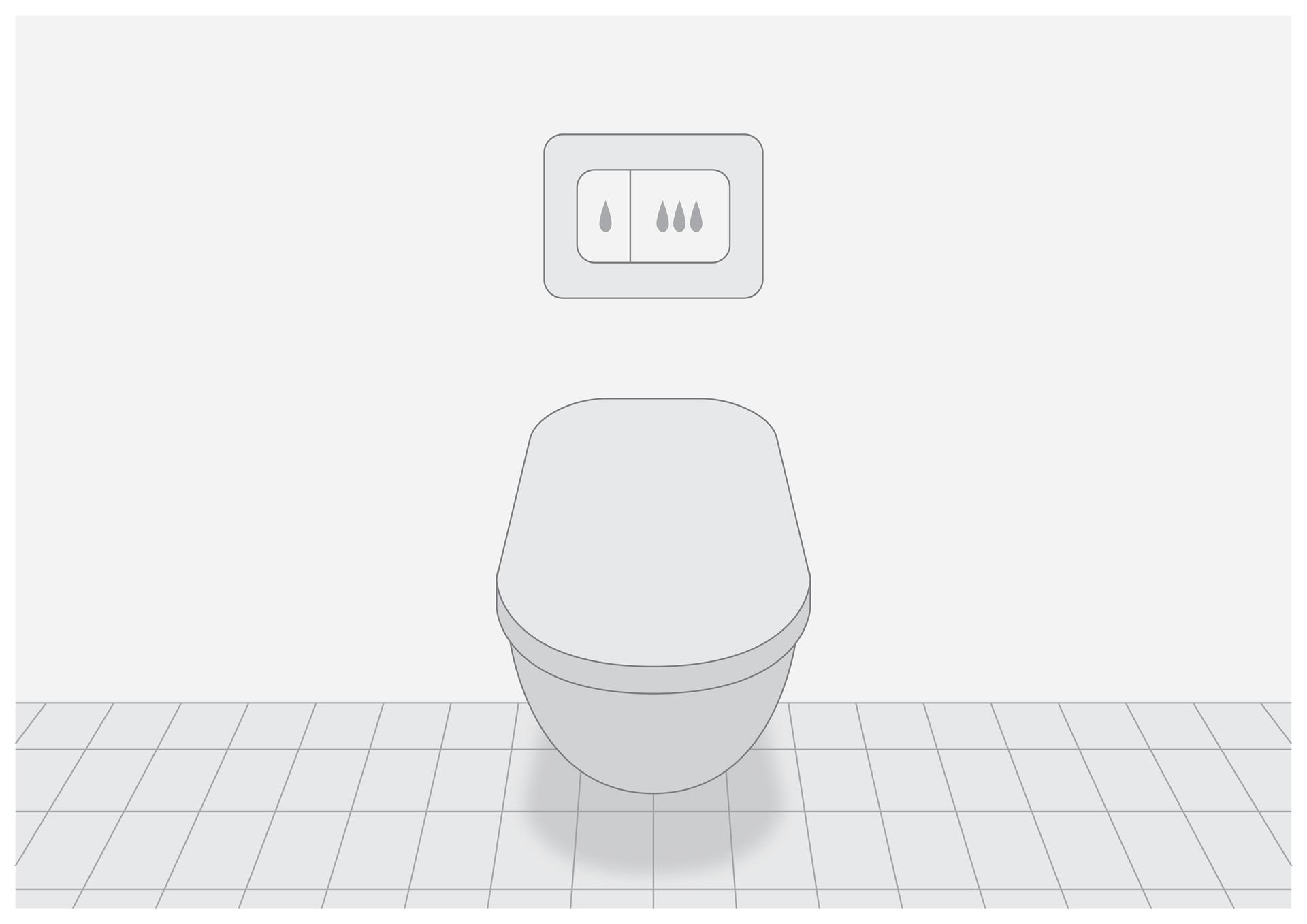 Piąta ilustracja wgalerii. Przedstawia czarno biały rysunek toalety ze zbiornikiem podtynkowym zmuszlą wiszącą na ścianie. Powyżej zamontowana spłuczka zdwoma przyciskami. Mniejszy przycisk zlewej strony oznaczony pojedynczą kroplą, większy przycisk zprawej strony oznaczony trzema kroplami.