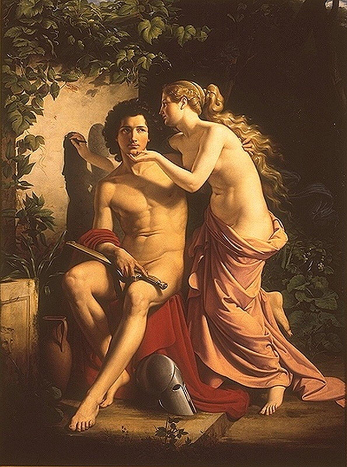 """Ilustracja przedstawiająca obraz Eduarda Daege pt. """"Kalliroe szkicująca podobiznę"""". Obraz przedstawia młodych mężczyznę ikobiet. Mężczyzna siedzi, akobieta odrysowuje na ścianie jego cień."""