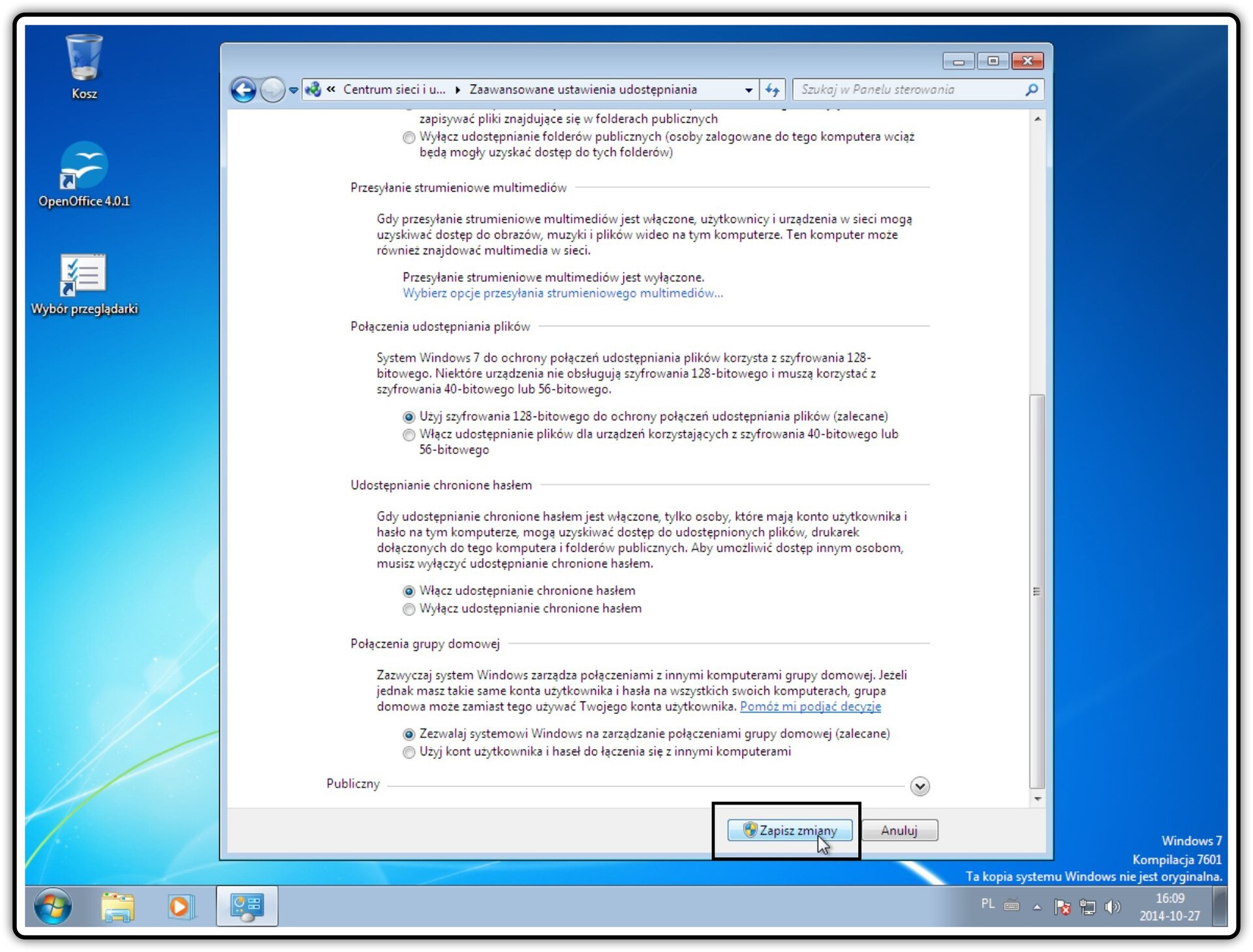 Ilustracja przedstawiająca: Krok 7 konfigurowania ustawień udostępniania wsystemie Windows