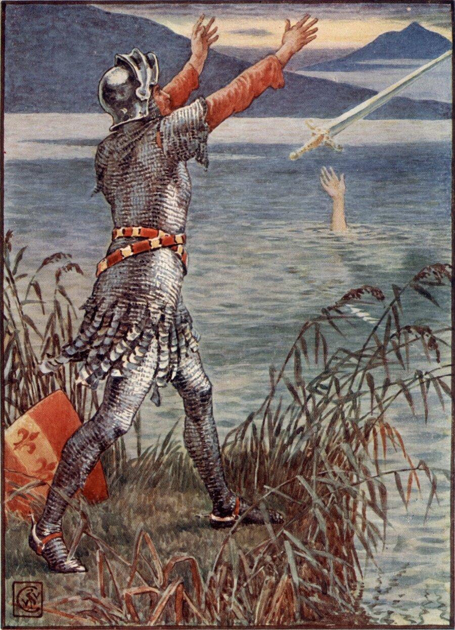 Pan Bediwer wrzuca Ekskalibura do jeziora Źródło: Walter Crane, Pan Bediwer wrzuca Ekskalibura do jeziora, 1845, ilustracja kolorowa, domena publiczna.