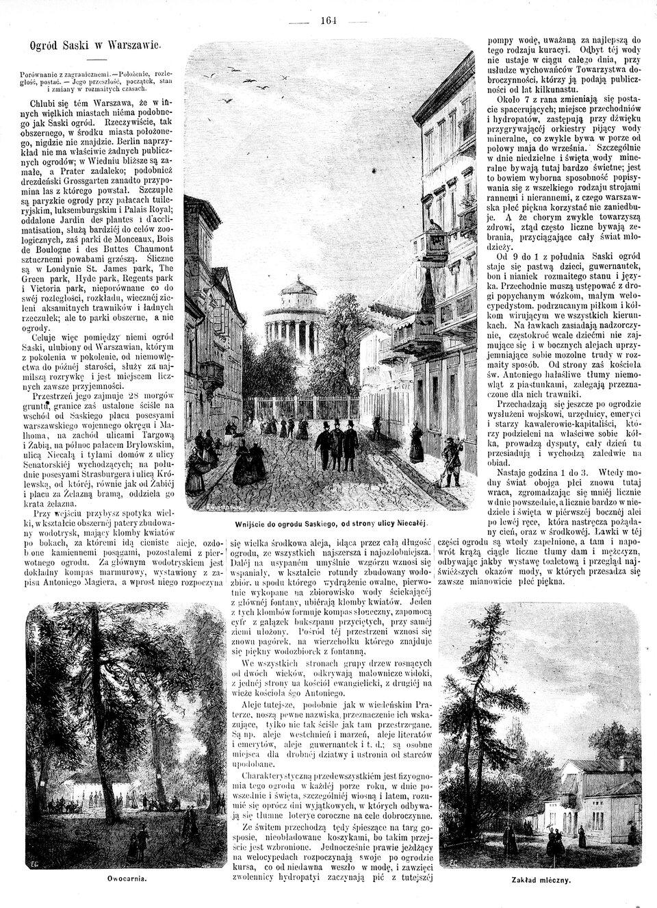 """Ogród Saski wWarszawie Źródło: Edward Gorazdowski, Ogród Saski wWarszawie, """"Tygodnik Ilustrowany"""" 1869 (z dn. 2.10), rycina, domena publiczna."""