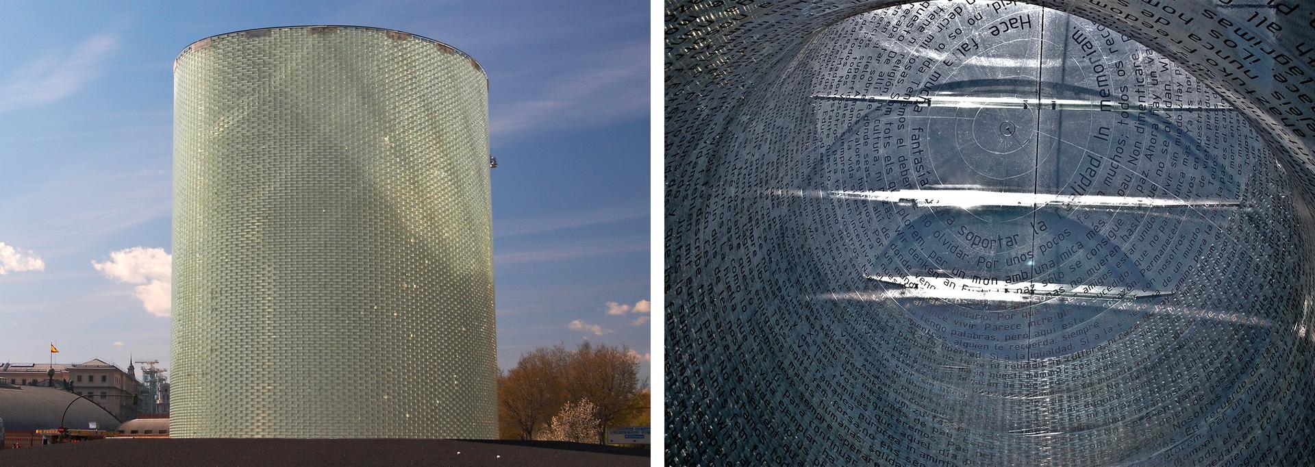 Ilustracja składa się z2 zdjęć ułożonych obok siebie. Zdjęcie po lewej przedstawia pomnik wkształcie pionowo ustawionego walca. Walec ma 11 metrów, wykonany ze szkła. Ściany są półprzeźroczyste. Prawe zdjęcie przedstawia wewnętrzną stronę wieży. Ściany walca od wewnątrz pokryte są tysiącami napisów. Napisy to wszystkie informacje, które pojawiły się po zamachu. Kondolencje, wyznania, informacje na miejscu tragedii.