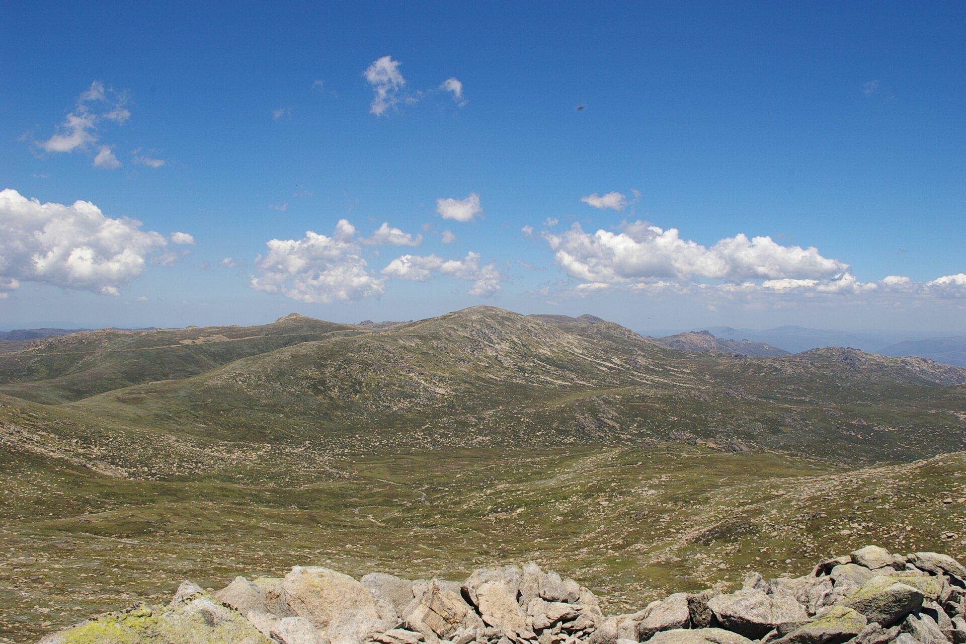 Fotografia prezentuje panorama łagodnych łańcuchów górskich pokrytych trawą ikamieniami. Najwyższe wzniesienie, to Góra Kościuszki.