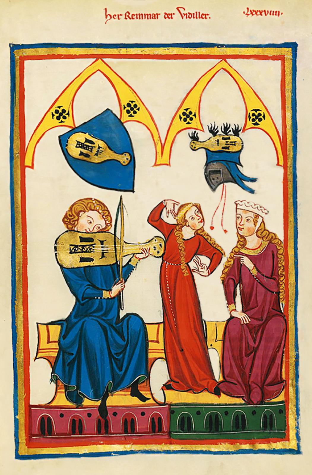 Grajek przygrywa damom do tańca Grajek przygrywa damom do tańca Źródło: Kodeks Manesse, około 1320 roku, miniatura, domena publiczna.