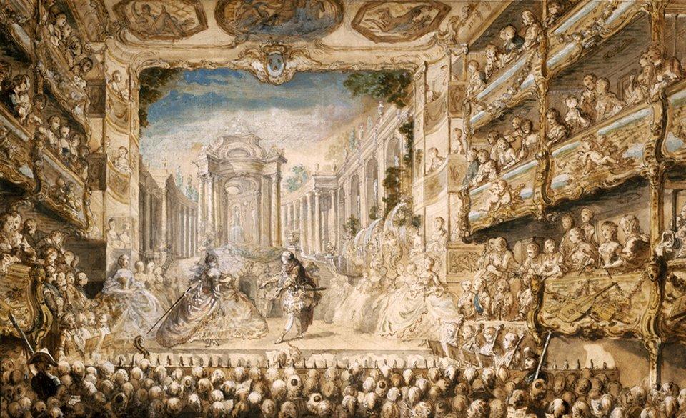 """Rysunekkolorowanypiórkiem Gabriela de Saint-Aubin z1761 r. pokazującyprzedstawienieoperowe wPalais Royal wParyżu. Scena zopery Lully'ego """"Armide"""". Rysunekkolorowanypiórkiem Gabriela de Saint-Aubin z1761 r. pokazującyprzedstawienieoperowe wPalais Royal wParyżu. Scena zopery Lully'ego """"Armide"""". Źródło: Gabriel de Saint-Aubin, 1761, domena publiczna."""