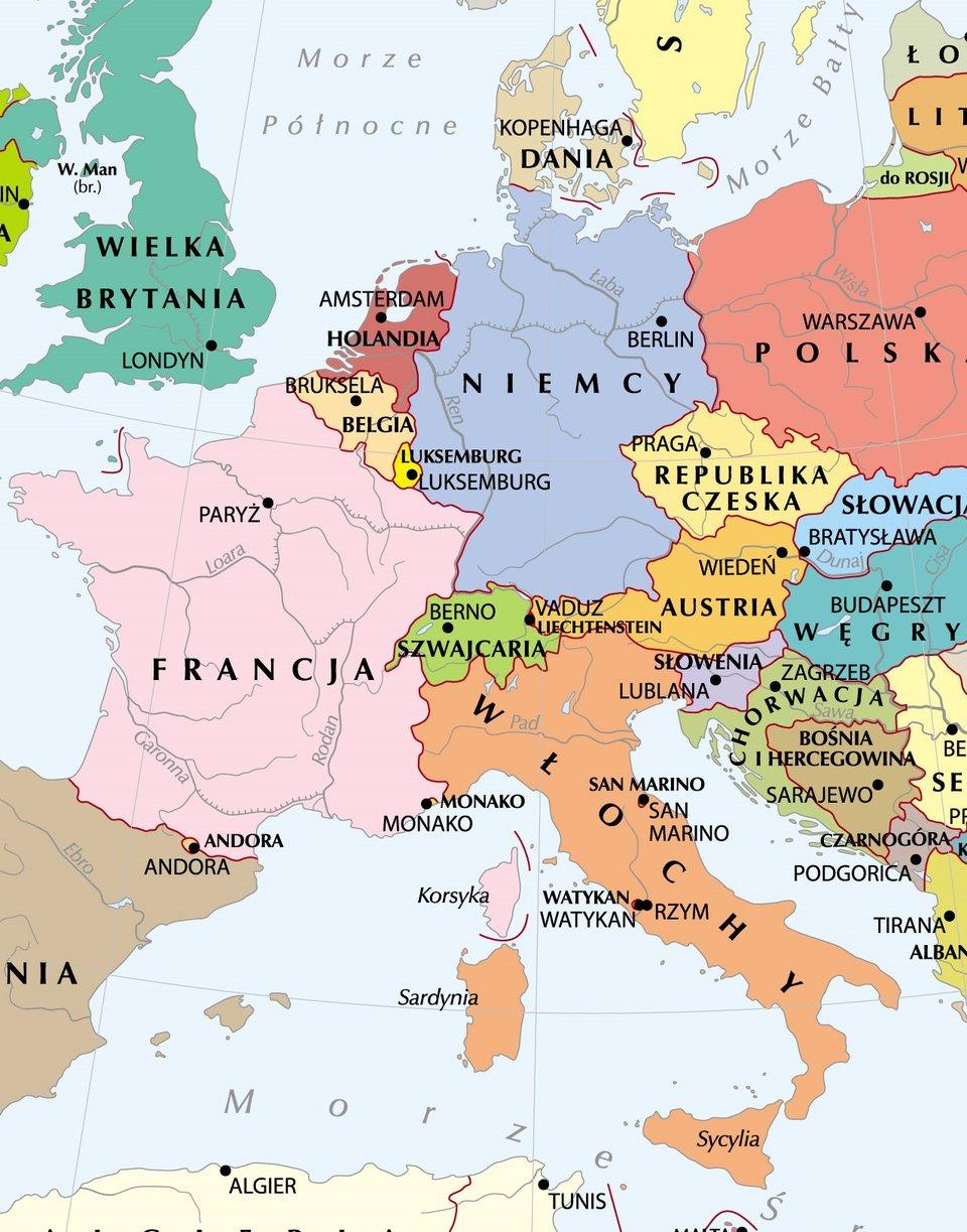 Europa zachodnia - mapa polityczna