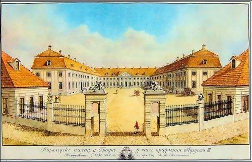 Nowy Zamek wGrodnie, wzniesiony przez Augusta III wl. 1734-1751 wgprojektu znanego architekta Karla Friedricha Pöppelmanna. Wnim obradowały również zwoływane sejmy, wtym ostatni sejm Rzeczpospolitej. Nowy Zamek wGrodnie, wzniesiony przez Augusta III wl. 1734-1751 wgprojektu znanego architekta Karla Friedricha Pöppelmanna. Wnim obradowały również zwoływane sejmy, wtym ostatni sejm Rzeczpospolitej. Źródło: domena publiczna.