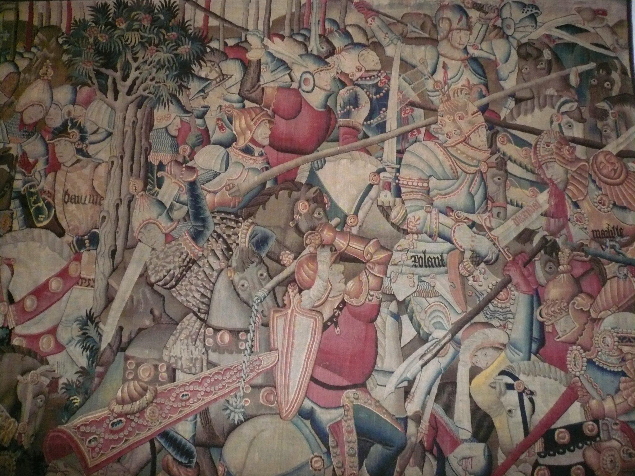 Bitwa wwąwozie Roncevaux Źródło: Marie Therese Ross, Bitwa wwąwozie Roncevaux, gobelin, licencja: CC BY-SA 2.0.
