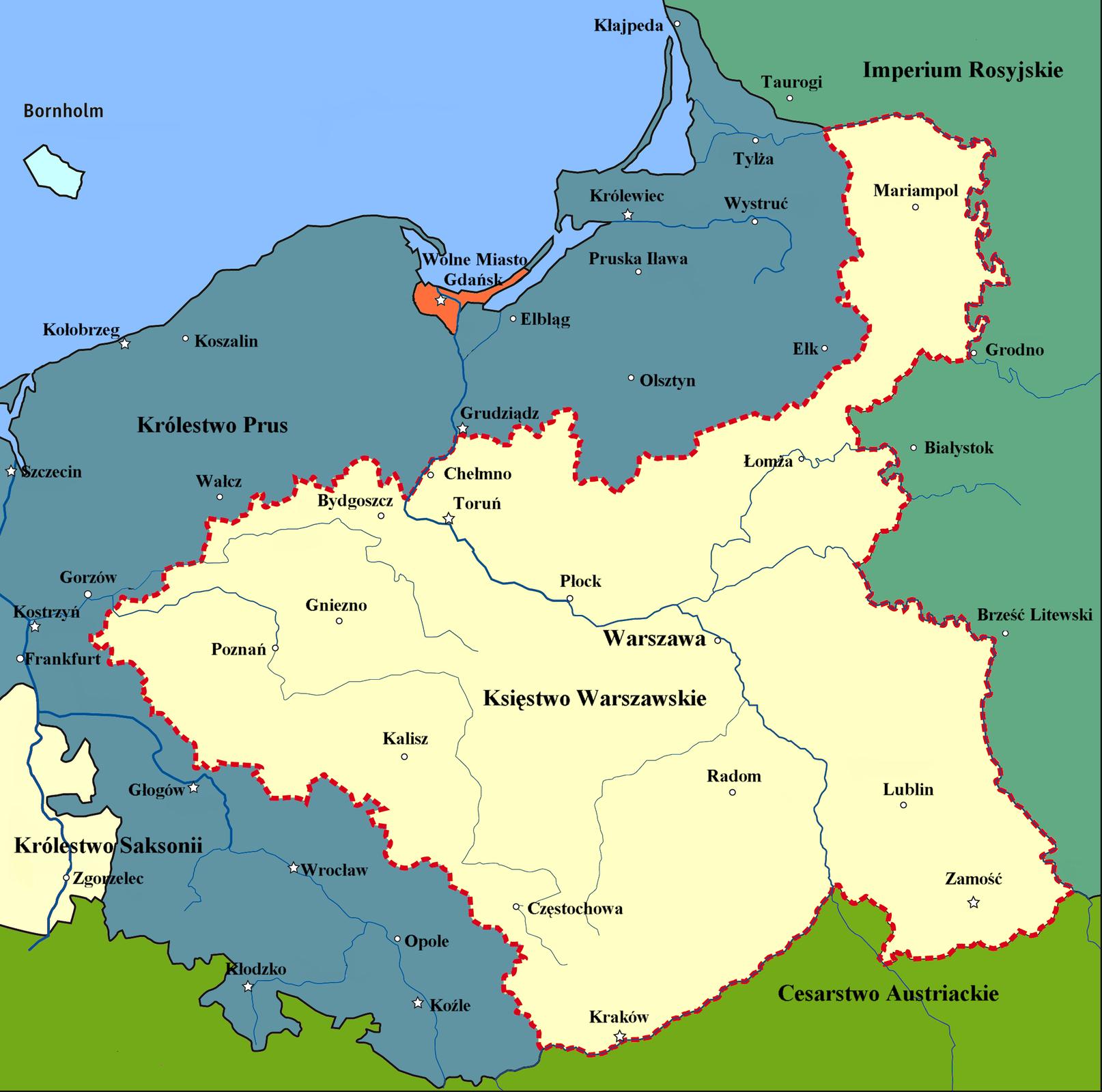 mapa -Księstwo Warszawskie 1809-1815