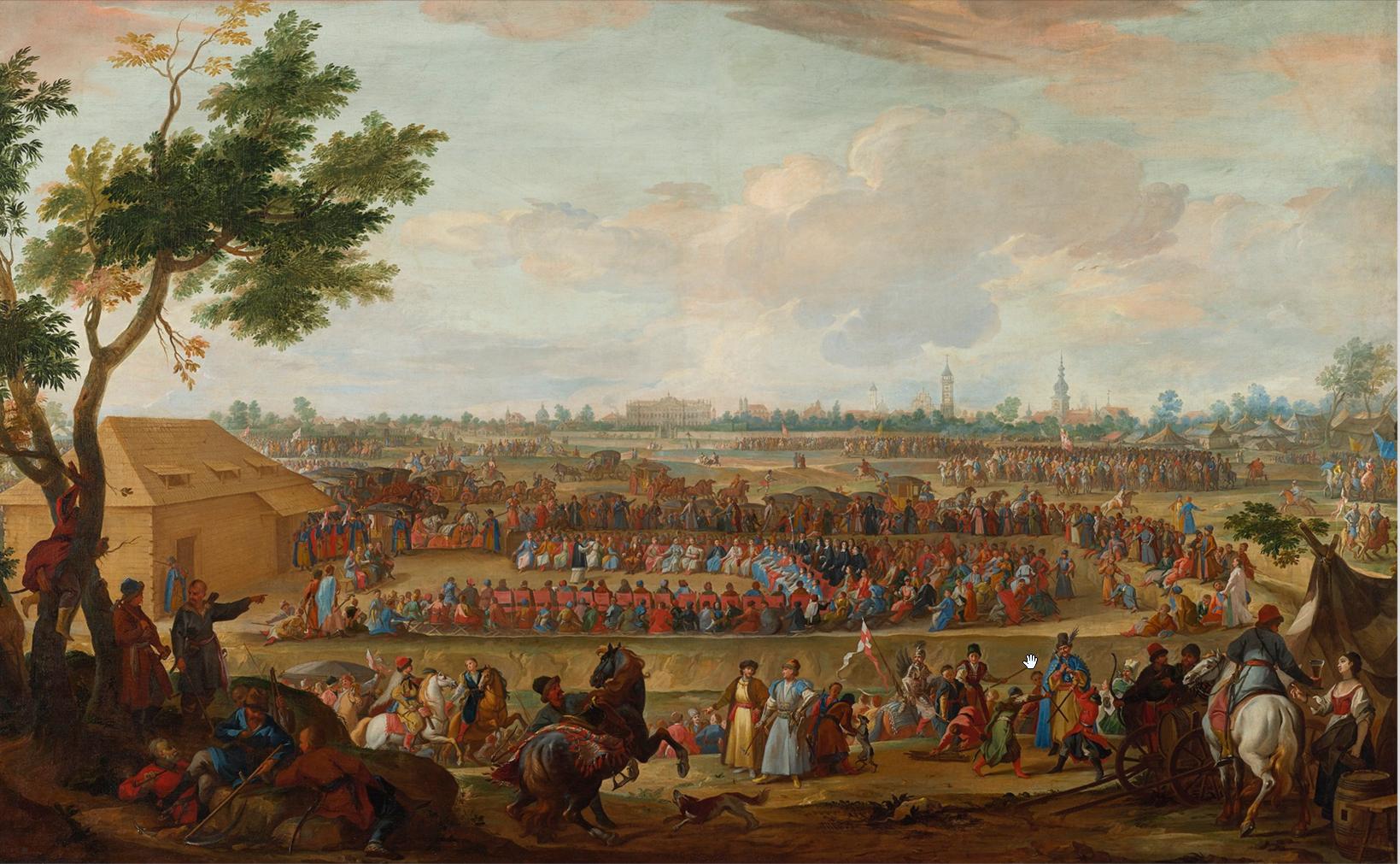 Sejm elekcyjny 1697 roku Obrady sejmu elekcyjnego wmaju iczerwcu 1697 r. wWarszawie. Większość zgromadzonych opowiedziała się za kandydaturą Franciszka Ludwika Burbona-Conti - został on oficjalnie ogłoszony królem przez prymasa Michała Radziejowskiego. Mniejszość szlachty (w grę wchodziły pieniądze rozdawane przez przedstawicieli cara Piotra I)obwołała monarchą elektora saskiego Fryderyka Augusta I, który wykorzystał bierność francuskiego kandydata, ruszając na Wawel. Ceremonia koronacji możliwa była jedynie przy użyciu insygniów królewskich przechowywanych wwawelskim skarbcu, adrzwi do skarbca zamknięte były na osiem zamków, do których osobne klucze mieli senatorowie Rzeczypospolitej. Sześciu znich opowiadało się po stronie Burbona, więc liczyć na otwarcie skarbca nie można było liczyć. Ztej patowej sytuacji Fryderyk August wybrnął wbardzo mało skomplikowany sposób - insygnia wyniesiono przez wybitą wścianie skarbca dziurę. We wrześniu 1697 r. elektor zaprzysiągł pacta conventa izostał koronowany na króla Polski, jako August II, przez biskupa kujawskiego Stanisława Dąmbskiego wkatedrze wawelskiej. Źródło: Martino Altomonte, Sejm elekcyjny 1697 roku, 1697-1704, olej na płótnie, Zamek Królewski wWarszawie, domena publiczna.