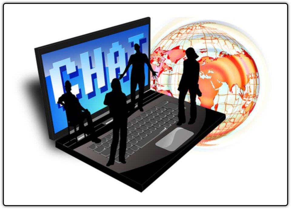 Ilustracja przedstawiająca ludzi stojących na klawiaturze laptopa, na ekranie napis CHAT, awtle globus