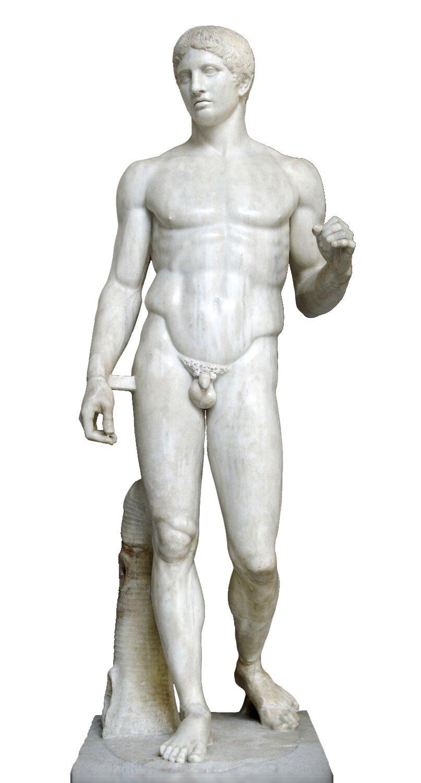 Doryforos Źródło: Poliklet, Doryforos, ok. 450 p.n.e., marmurowa replika rzymska, Museo Archeologico Nazionale, licencja: CC BY-SA 2.5.