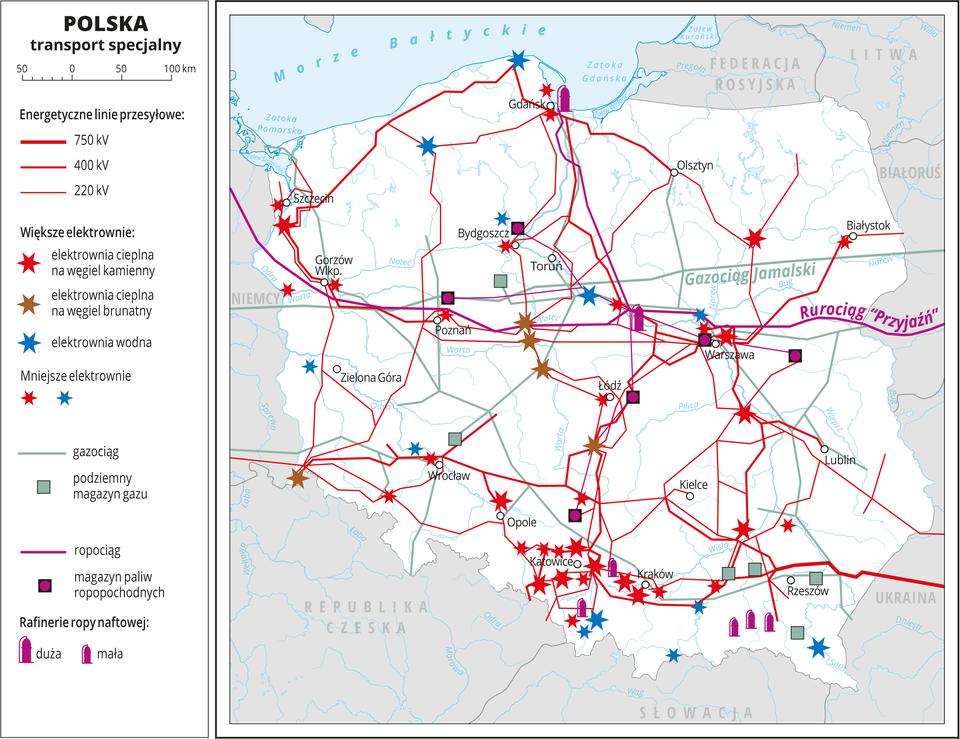 Ilustracja przedstawia mapę Polski. Tło mapy jest wkolorze białym. Na mapie przedstawiono transport specjalny: energetyczne linie przesyłowe wpostaci siatki czerwonych linii oróżnej grubości wzależności od mocy – 220 kilowatów do 750 kilowatów. Kolorowymi gwiazdkami oznaczono elektrownie cieplne na węgiel kamienny, elektrownie cieplne na węgiel brunatny ielektrownie wodne, najwięcej elektrowni jest na południu Polski. Liniami oznaczono gazociąg iropociąg oprzebiegu równoleżnikowym, asygnaturami podziemne magazyny gazu imagazyny paliw ropopochodnych irafinerie ropy naftowej (wzdłuż gazociągu iropociągu wśrodkowej Polsce oraz na Podkarpaciu). Mapa pokryta jest równoleżnikami ipołudnikami. Dookoła mapy wbiałej ramce opisano współrzędne geograficzne co jeden stopień. Wlegendzie opisano znaki użyte na mapie.