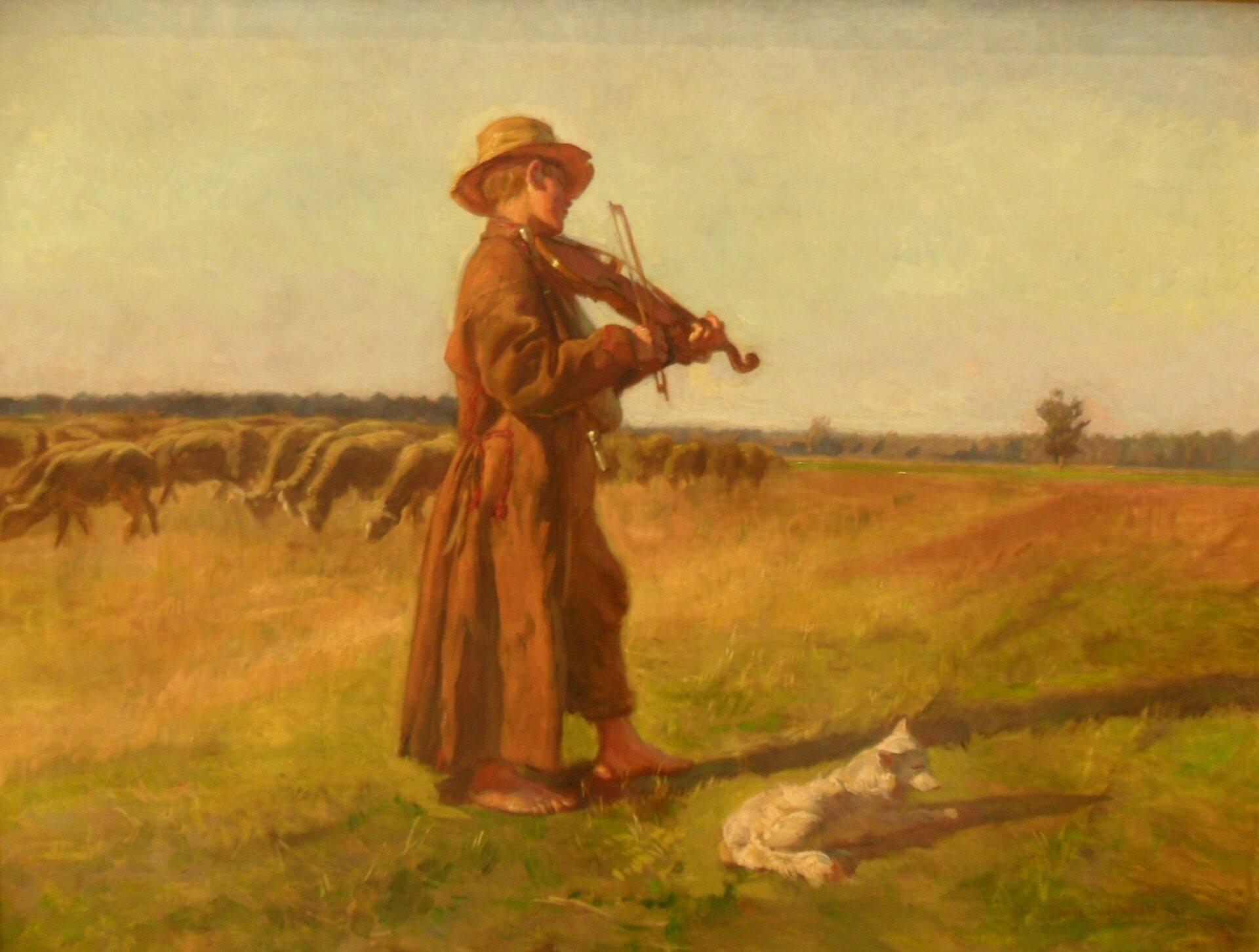 """Ilustracja przedstawia obraz """"Owczarek"""", autorstwa Józefa Chełmońskiego. Pośrodku dzieła widnieje bosonogi chłopiec odziany wsiermiężną kapotę, grający na skrzypcach. Towarzyszy mu pies oraz stado owiec. Letni dzień podkreśla jasna, jakby wypalona słońcem, tonacja barwna."""