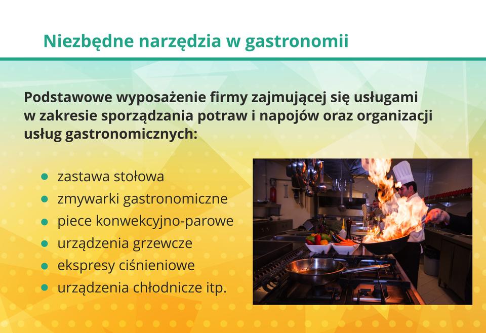 Grafika przestawia elementy wyposażenia gastronomii.