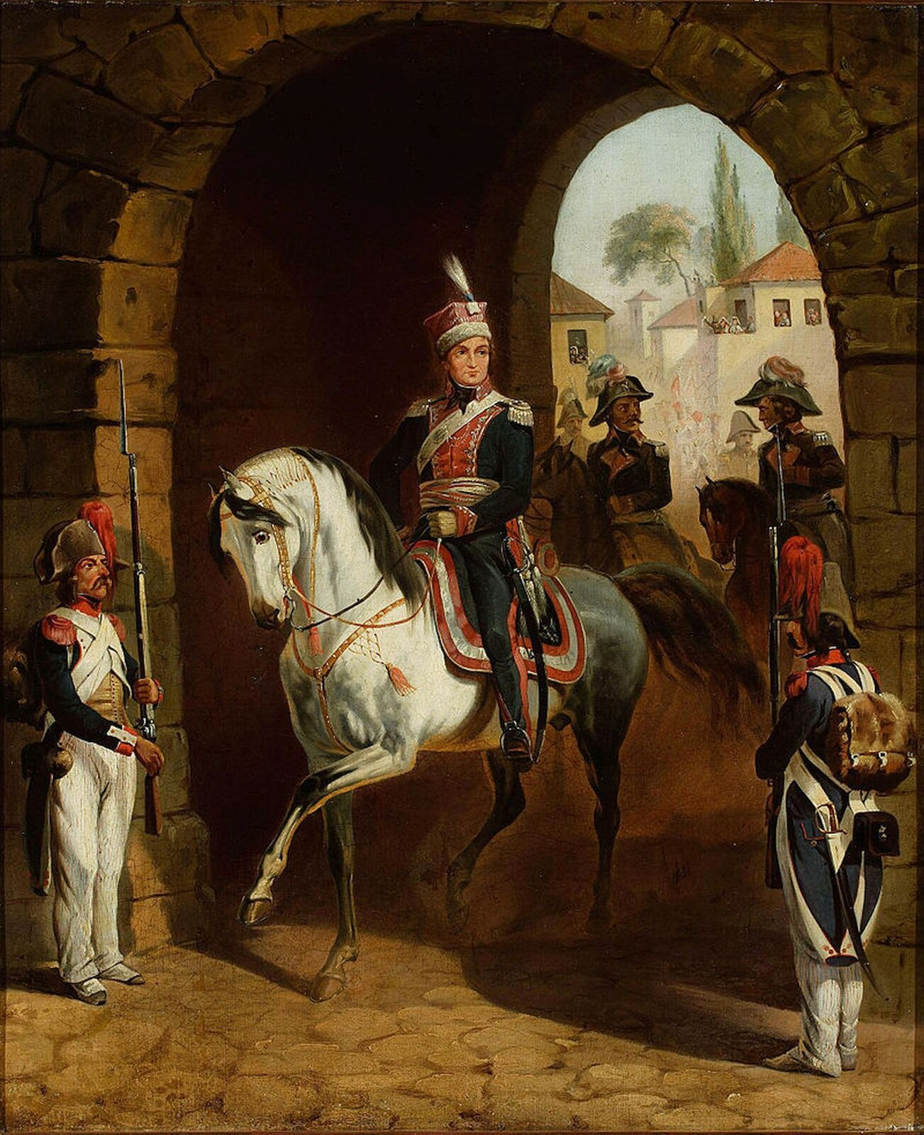 Zdjęcie przedstawia obraz, ukazujący Jana Henryka Dąbrowskiego. Mężczyzna siedzi na białym koniu.
