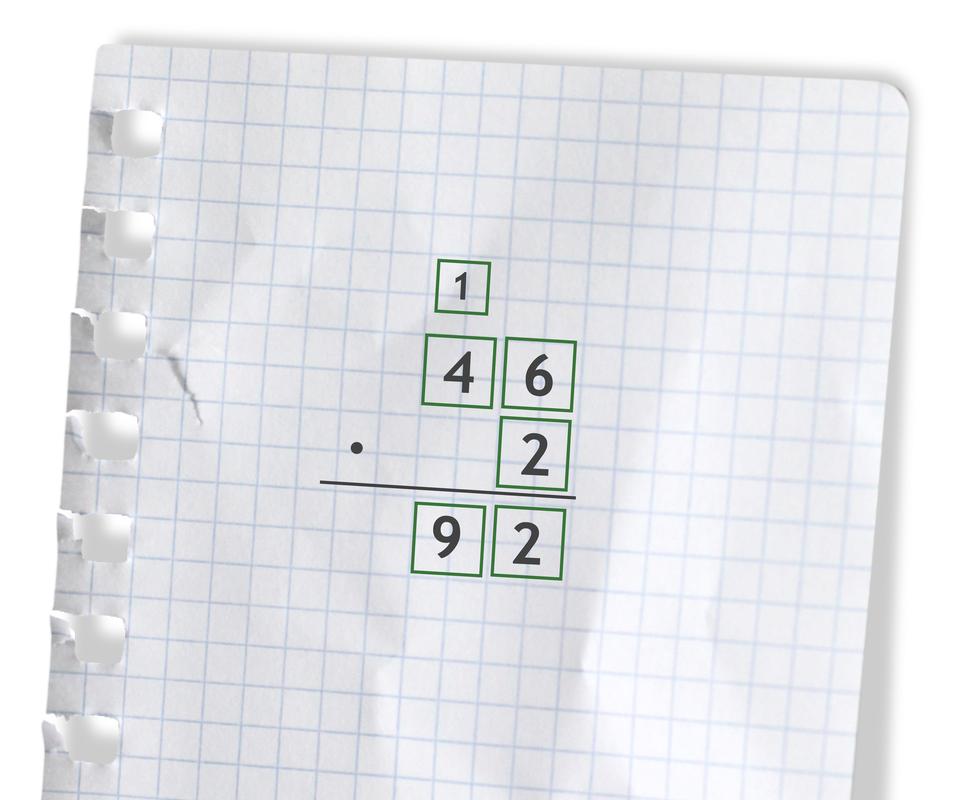 Przykład: 46 razy 2 =92. Rozwiązanie zadania podpunkt a.