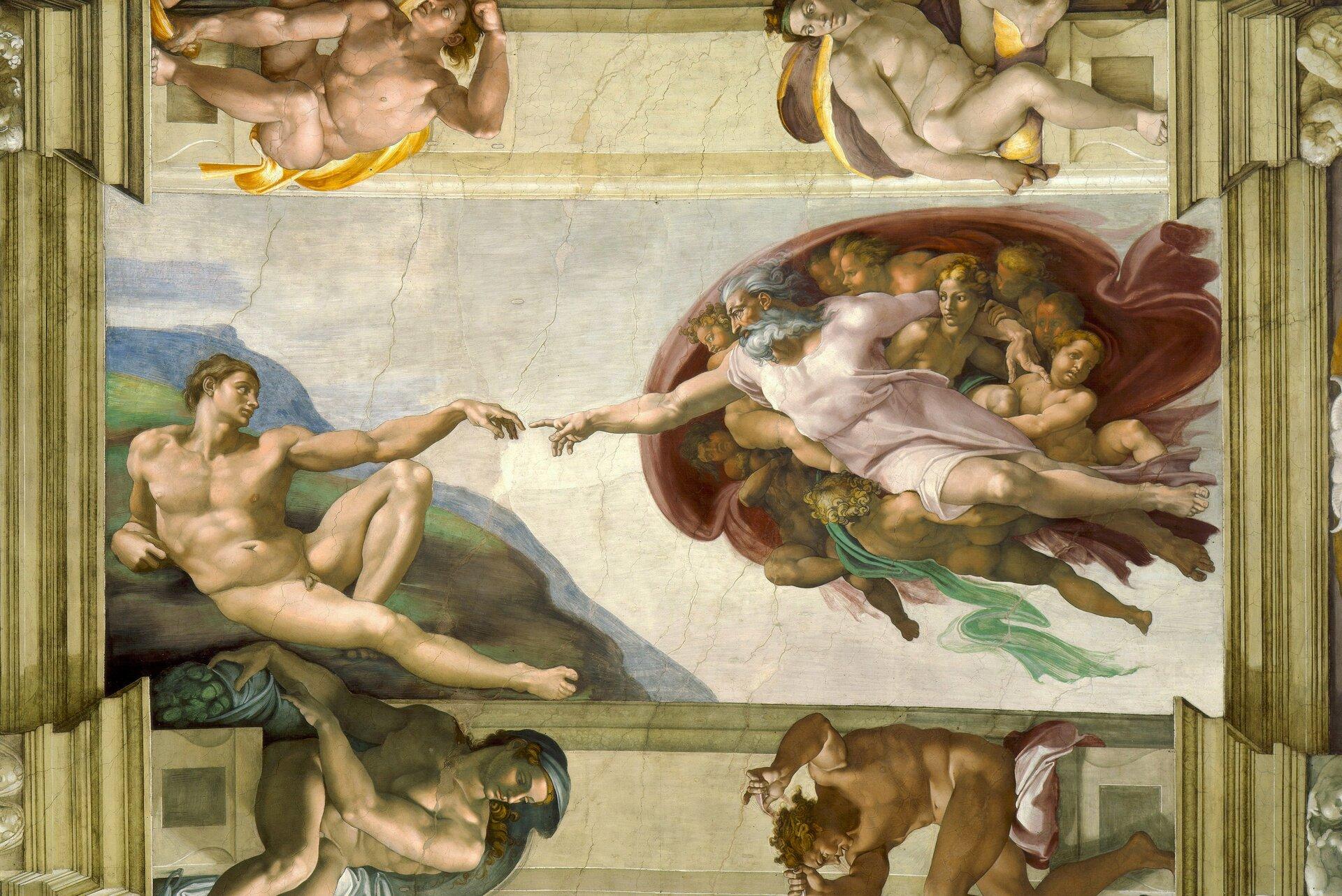 Na ziemi leży nagi mężczyzna iwyciąga lewą rękę opartą na lewym kolanie wstronę siwego, brodatego mężczyzny unoszącego się wpowietrzu, otoczonego dziećmi, które się do niego tulą. Siwowłosy mężczyzna wyciąga do leżącego prawą rękę zwystawionym palcem ipatrzy mu woczy.