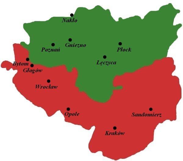 Mapa podziału Księstwa Polskiego w1102, po śmierci Władysława IHermana