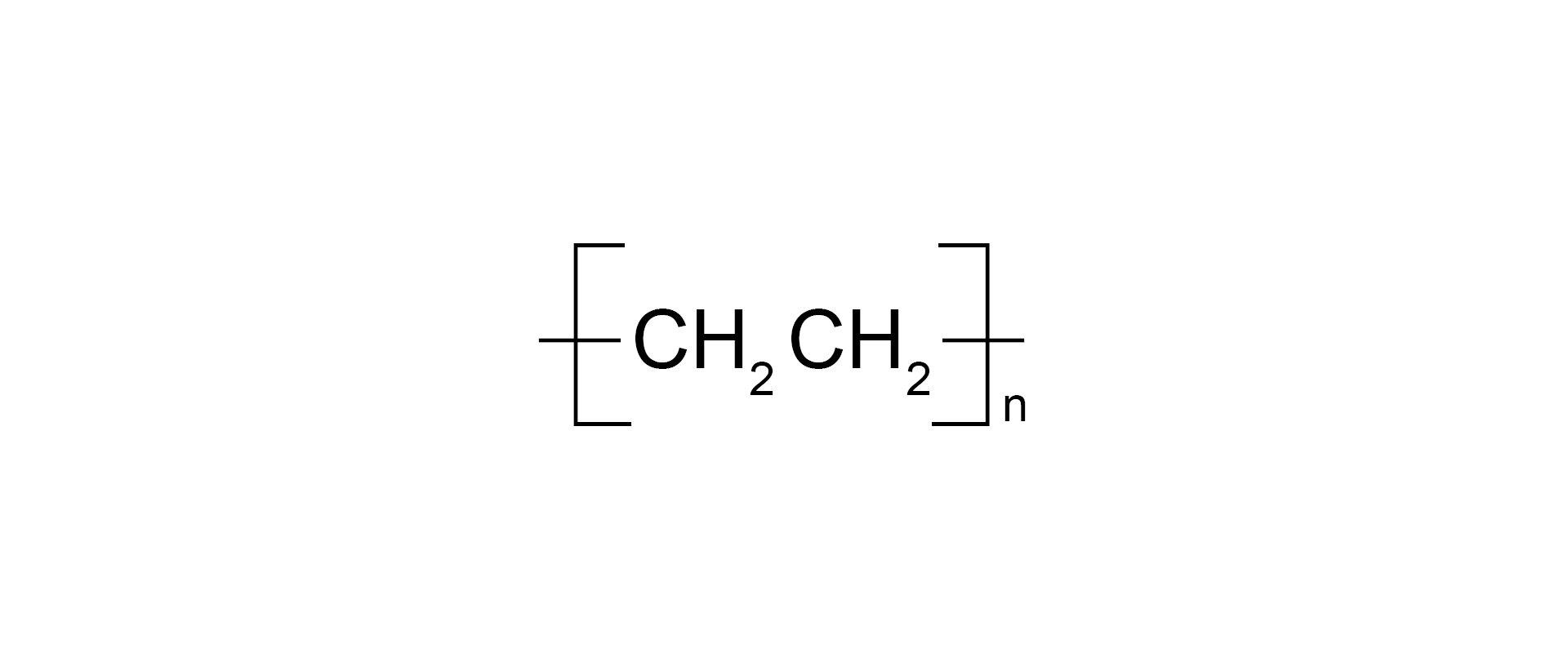 Ilustracja pokazuje wzór sumaryczny polietylenu.