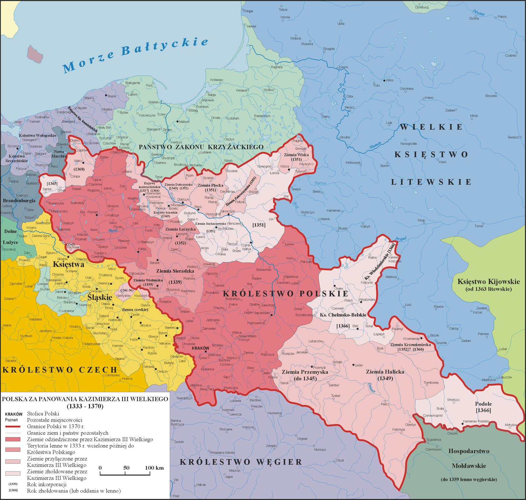 Mapa przedstawiająca Polskę za panowania Kazimierza Wielkiego.
