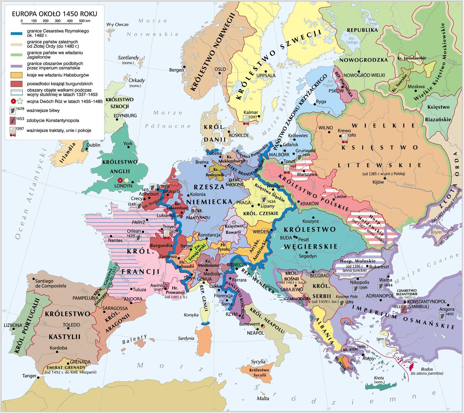 Europa 1450 r. Europa 1450 r. Źródło: Krystian Chariza izespół, licencja: CC BY 3.0.