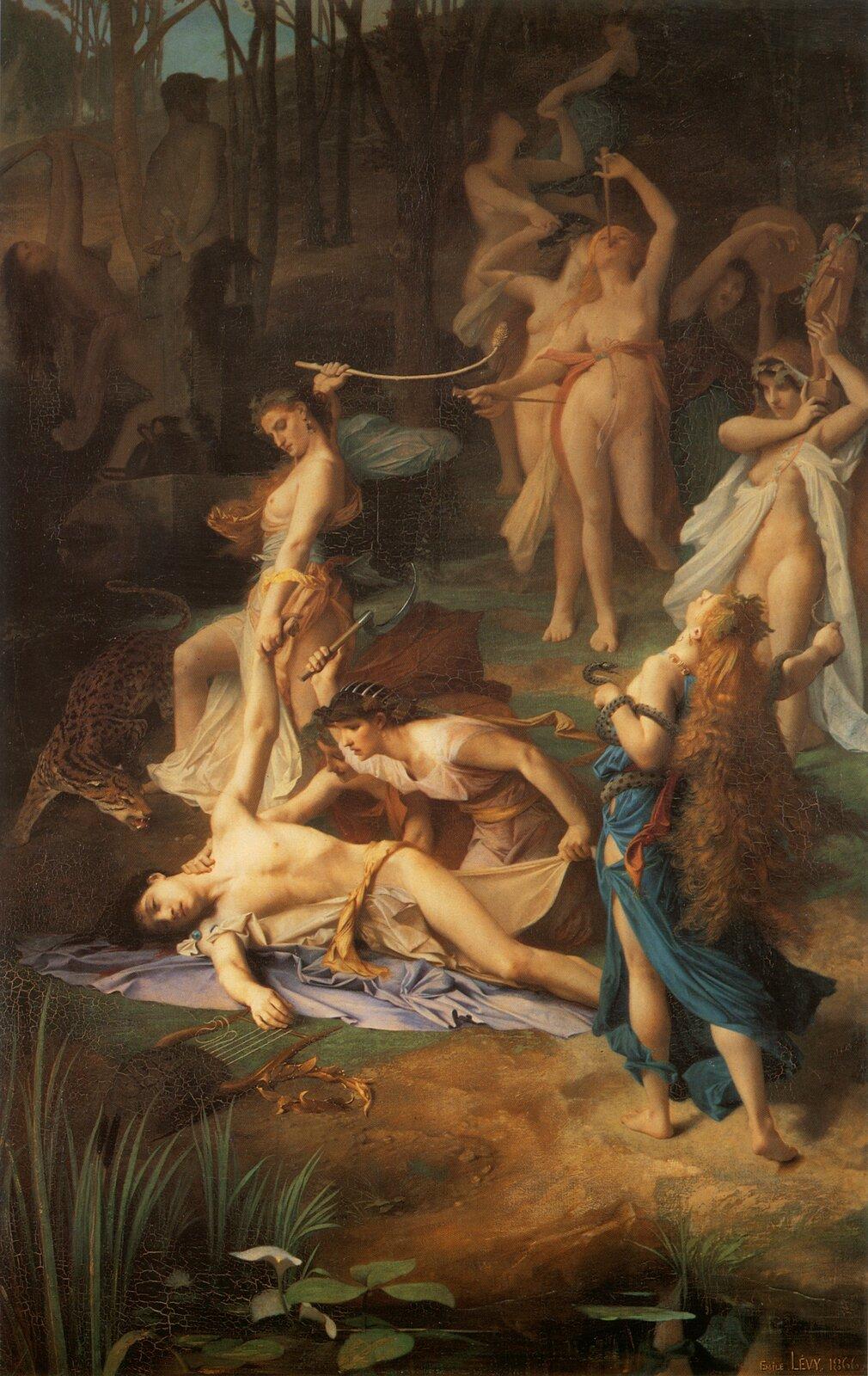 """Ilustracja przedstawia dzieło Émile Lévy'ego pt. """"Śmierć Orfeusza"""". Wcentrum obrazu widnieje postać umierającego młodego mężczyzny. Leży nad brzegiem rzeki, na rozpostartej na trawie fiołkowej tkaninie. Jego niewyraźny wzrok utkwiony jest wjednym punkcie, dłonią dotyka strun leżącej obok liry. Zprawej strony widoczna jest postać kobiety stojącej tyłem. Ma odchyloną głowę, jej długie rude włosy opadają na plecy. Odziana jest wbłękitną szatę; tańczy weuforii wraz zoplecionym wokół jej ciała wężem. Druga pochyla się nad umierającym izamierza zadać mu ostateczny cios sierpem trzymanym wwyciągniętej ręce. Kolejna podtrzymując rękę Orfeusza do góry wymierzając mu cios biczem. Wtle kilka półnagich bachantek oddaje się tańcom rytualnym. Znacząca wydaje się niewyraźna, ukryta wcieniu drzew, postać osamotnionego mężczyzny, który jako jedyny odwraca wzrok od tej sceny."""