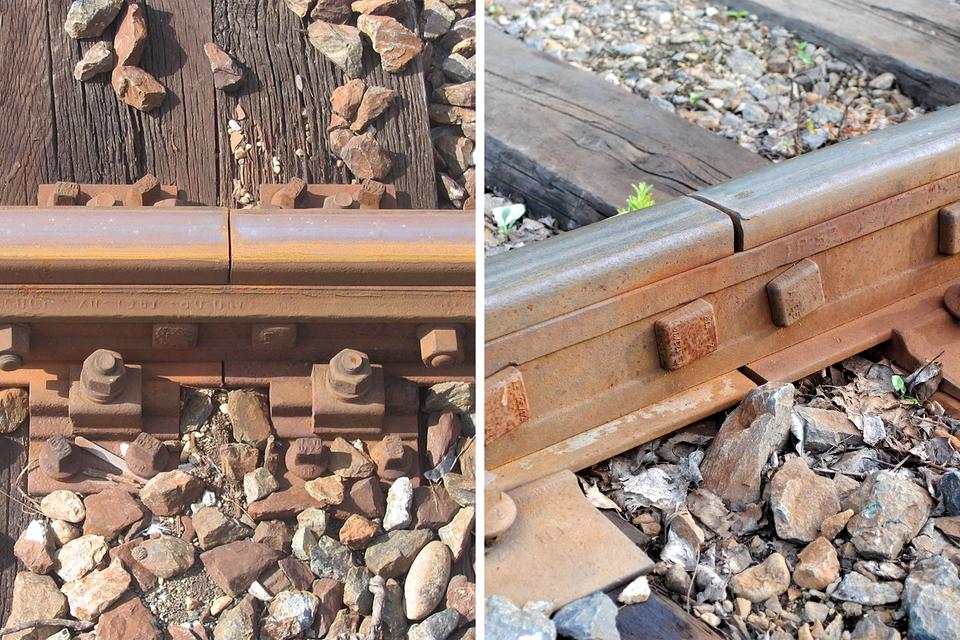 Fotografia przedstawia przerwy dylatacyjne wszynach kolejowych latem izimą.