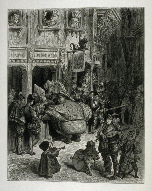 Gargantua iPantagruel - ilustracja do ksiązki Źródło: Gustave Doré, Gargantua iPantagruel - ilustracja do ksiązki, 1873, domena publiczna.