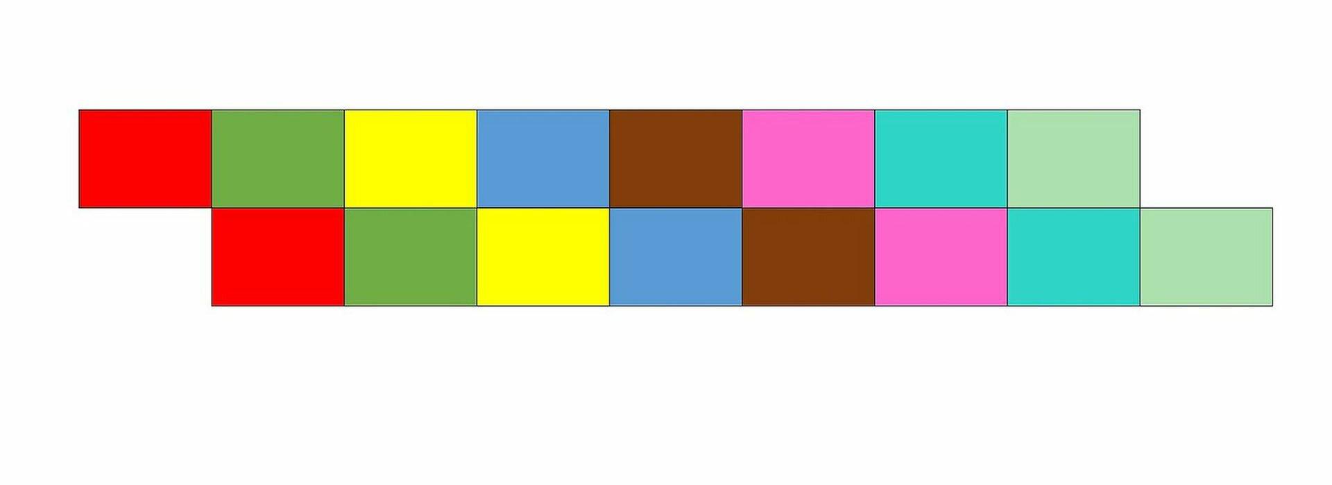 Ilustracja przedstawia schemat kanonu dwugłosowego, wktórym drugi głos powtarza po jednym takcie. Melodię przedstawiono jako szereg kolorowych prostokątów. Występują one wustalonym porządku: czerwony, zielony, żółty, niebieski, brązowy, purpurowy, morski, seledynowy. Wzapisie są dwa rzędy. Wobu rzędach kolory występują wtej samej kolejności, tylko wdrugim rzędzie są przesunięte ojeden. Na przykład pod zielonym znajduje się czerwony, pod żółtym zielony itd.