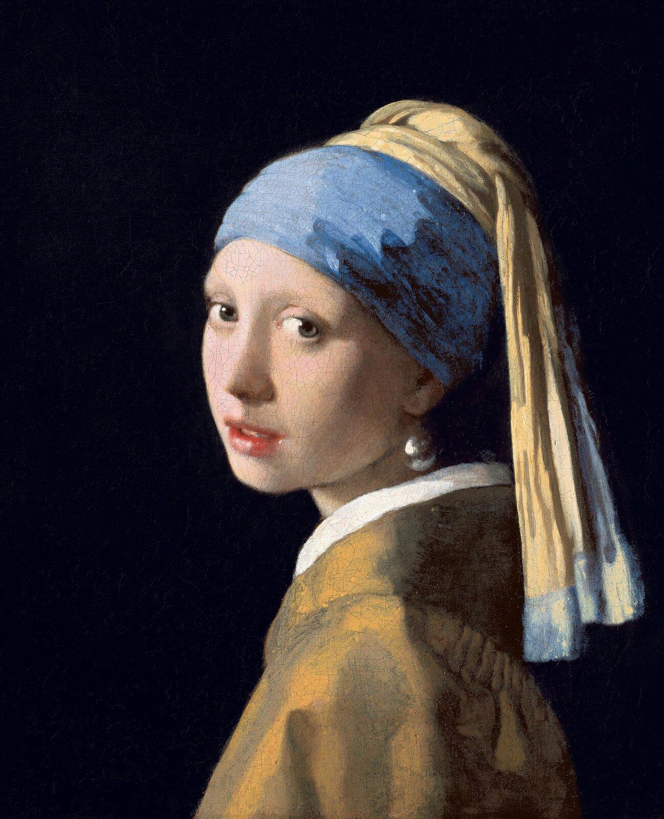 Dziewczyna zperłą Źródło: Jan Vermeer, Dziewczyna zperłą, 1664–1665, olej na półtnie, domena publiczna.