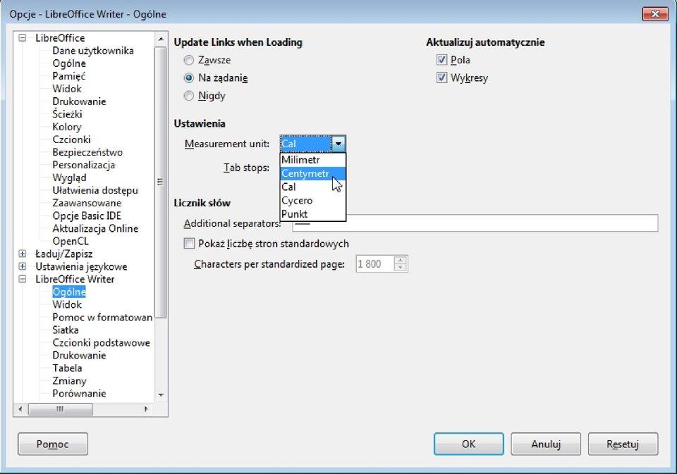 Zrzut okna: Opcje wprogramie LibreOffice Writer