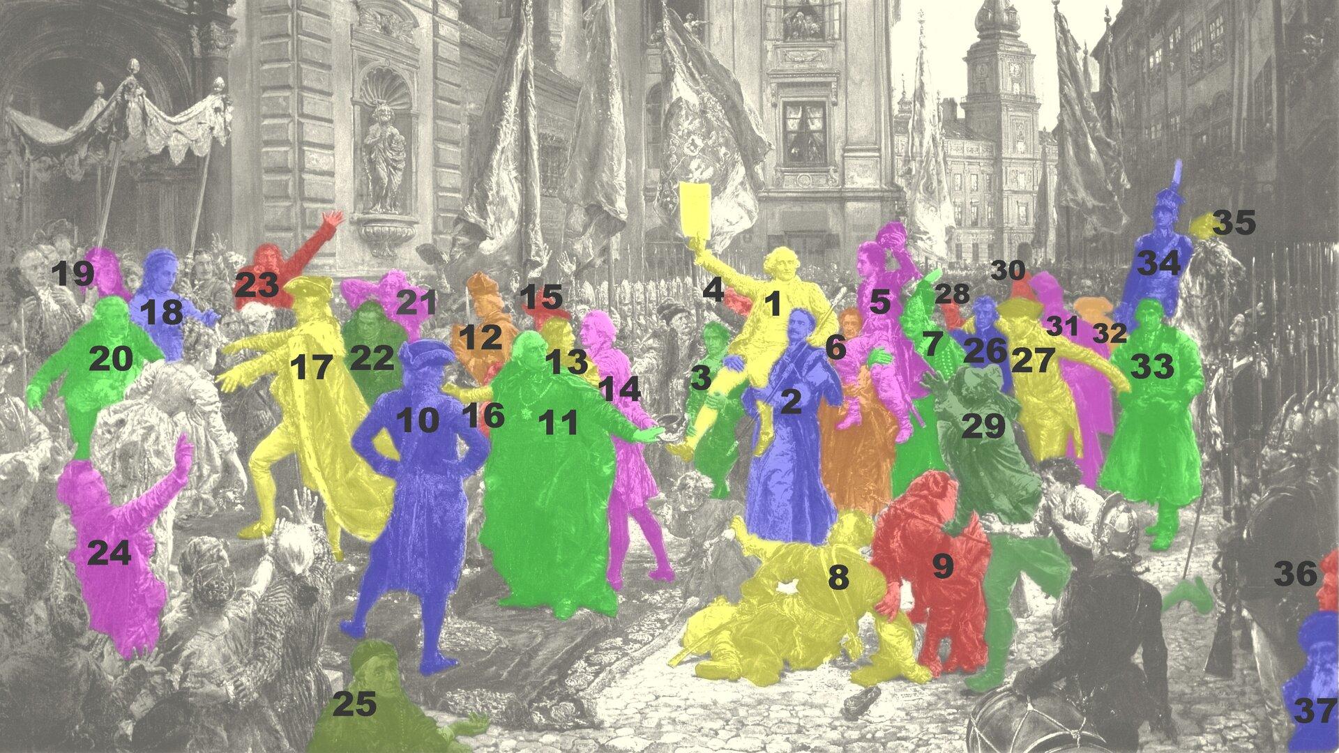Obraz przestawia pochód posłów wcelu zaprzysiężenia Konstytucji trzeciego maja. Na obrazie znajduje się wiele postaci historycznych związanych zKonstytucją trzeciego maja. Na obrazie postacie są oznaczone cyframi od jeden do trzydzieści siedem. Najważniejszą postacią obrazu jest marszałek Stanisław Małachowski, oznaczony jako numer jeden. Marszałek znajduje się wcentrum obrazu. Trzyma tekst Konstytucji, adwaj posłowie Aleksander Linowski (numer dwa) iIgnacy Wyssogota Zakrzewski (numer trzy) podtrzymują marszałka na ramionach. Obok postaci marszałka widać twarz generała Tadeusza Kościuszki (oznaczony jako numer cztery). Król znajduje się zlewej strony obrazu. Jest ubrany wkrólewską pelerynę obszytą gronostajem, ana głowie ma trójskrzydłowy kapelusz. Przeciwnikiem konstytucji był poseł na Sejm Wielki Jan Suchorzewski. Na obrazie jest oznaczony jako numer osiem. Jan Suchorzewski wygląda, jakby upadł, podpiera się ręką obrukowaną ulicę. Wcentrum obrazu znajduje kolejna ważna postać, współautor konstytucji Hugo Kołłątaj. Jest ubrany wczarne szaty ioznaczony numerem jedenaście. Za Hugo Kołłątajem stoją Ignacy Potocki współautor konstytucji (numer trzynaście) oraz Adam Kazimierz Czartoryski (numer czternaście). Zprzodu obrazu znajduje się Franciszek Ksawery Branicki (oznaczony numerem dziesięć), który stoi odwrócony plecami do oglądających obraz. Franciszek Ksawery Branicki również był przeciwnikiem konstytucji. Inną ważną postacią obrazu jest król Stanisław August Poniatowski oznaczony jako numer siedemnaście. Kolejną ważną postacią jest Józef Poniatowski, który oznaczony jest jako numer trzydzieści cztery. Józef Poniatowski, generał wojsk koronnych, siedzi na koniu iznajduje się po prawej stronie obrazu. Wgłębi obrazu można zauważyć fragment Zamku Królewskiego zWieżą Zygmuntowską.
