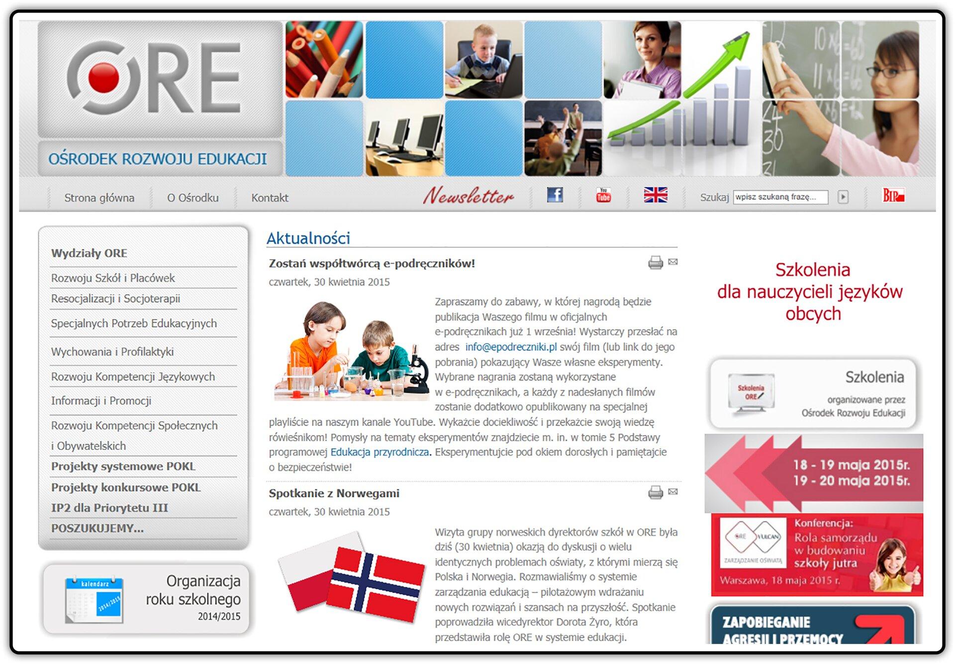 Zrzut strony internetowej: ore.edu.pl