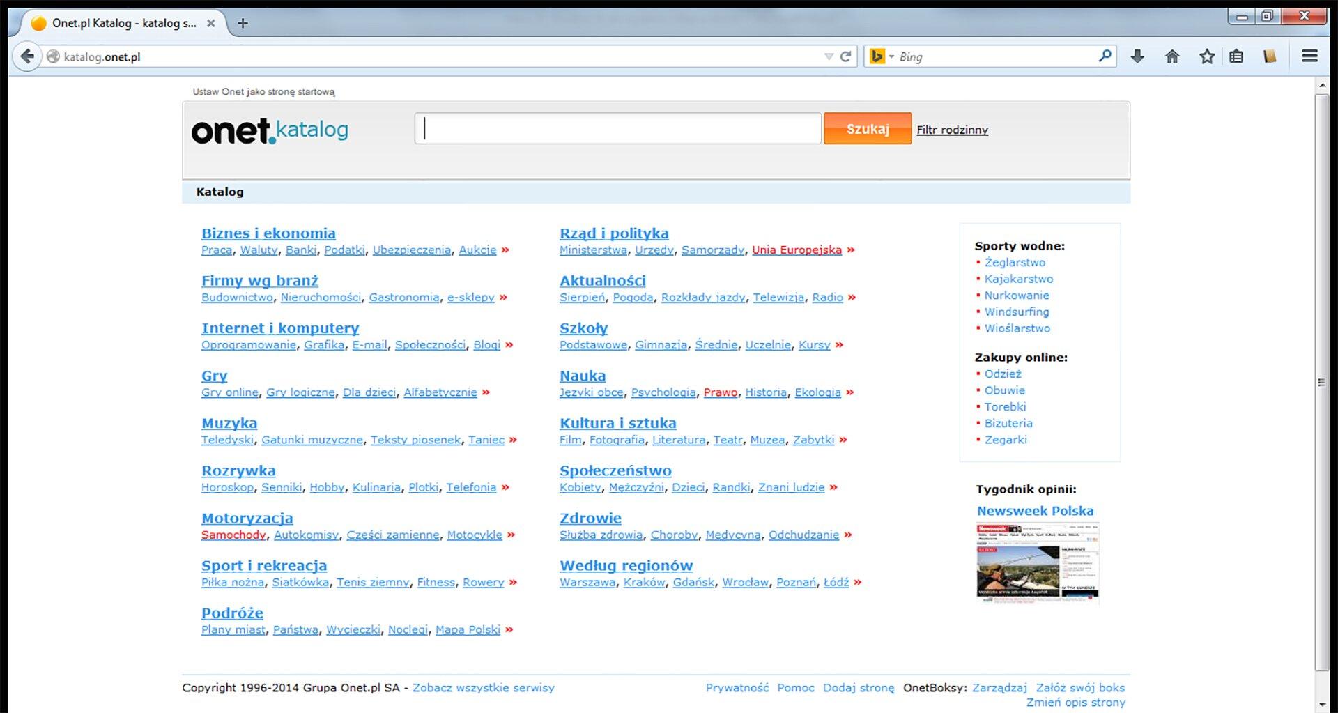 Zrzut okna strony internetowej katalogu portalu Onet