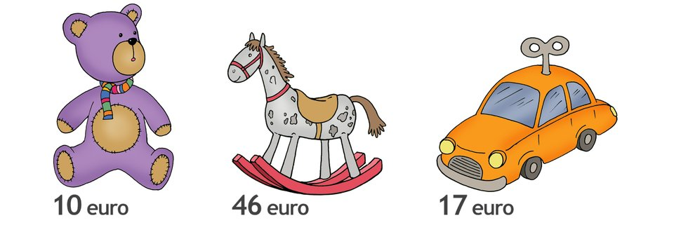 Rysunek misia, konika na biegunach isamochodu. Cena misia 10 euro. Cena konika 46 euro. Cena samochodu 17 euro. Oile euro jest droższy konik od misia? Oile euro tańszy jest miś od samochodu? Oile euro więcej trzeba zapłacić za dwa misie niż za jeden samochód?