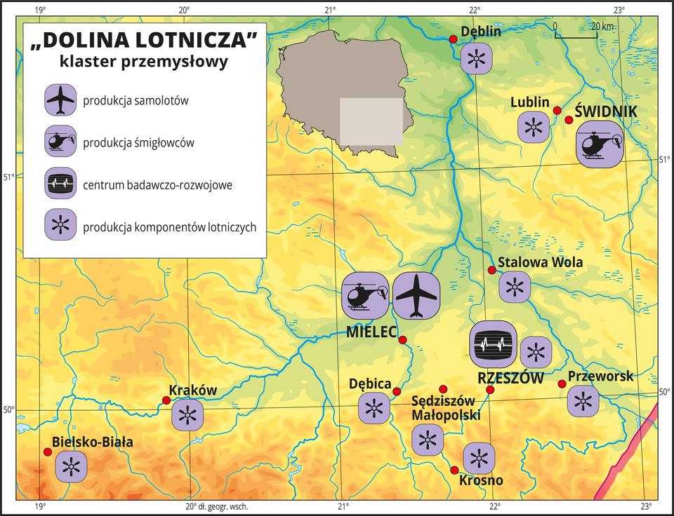 """Ilustracja przedstawia mapę """"doliny lotniczej"""" zlokalizowanej wpołudniowo-wschodniej Polsce wrejonie Rzeszowa. Na mapie za pomocą sygnatur przedstawiono koncentrację firm przemysłu lotniczego oraz centrum badawczo-rozwojowe. WMielcu jest fabryka samolotów iśmigłowców, awŚwidniku fabryka śmigłowców. Na mapie przedstawiono również dziesięć miast, wktórych występuje produkcja komponentów lotniczych.Mapa pokryta jest równoleżnikami ipołudnikami. Dookoła mapy wbiałej ramce opisano współrzędne geograficzne co jeden stopień.W legendzie mapy objaśniono znaki użyte na mapie: produkcja samolotów, produkcja śmigłowców, produkcja komponentów lotniczych, centrum badawczo-rozwojowe."""