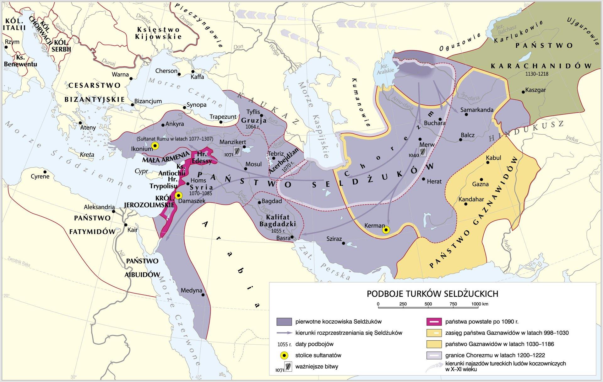 mapa Podboje Turków Sel Źródło: Krystian Chariza izespół, licencja: CC BY 3.0.