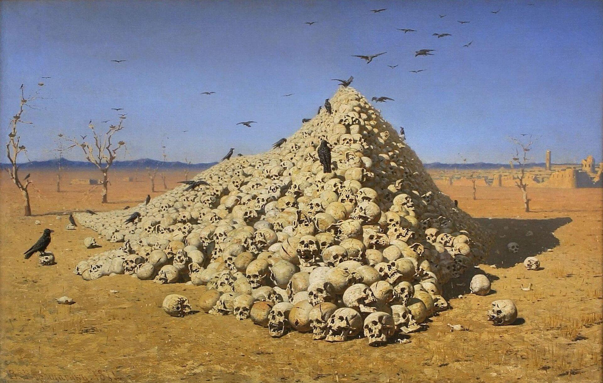 """Ilustracja przedstawia dzieło Wereszczagin, """"Apoteoza wojny"""", które przedstawia ludzkie czaszki ułożone wskarpę. Nad czaszkami latają czarne ptaki."""