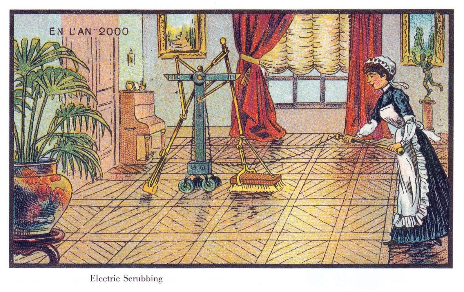 Francja wroku 2000. Elektryczna froterka Źródło: Jean Marc Cote, Francja wroku 2000. Elektryczna froterka, 1899, domena publiczna.