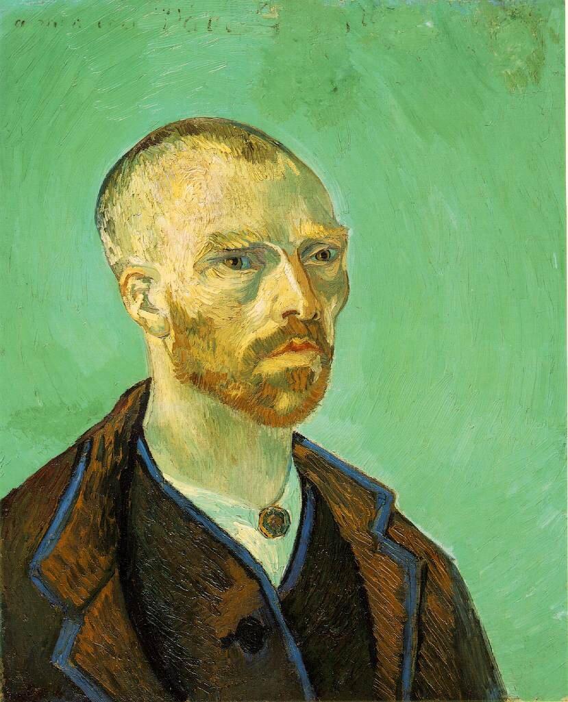 Autoportret (dedykowany Paulowi Gauginowi) Źródło: Vincent van Gogh, Autoportret (dedykowany Paulowi Gauginowi), 1888, olej na płótnie, Fogg Art Museum, Cambridge, domena publiczna.