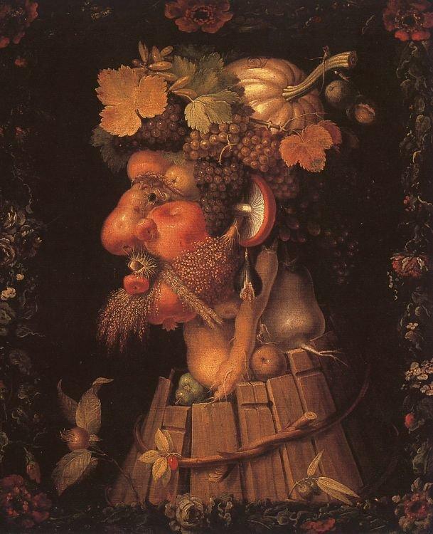 Jesień Źródło: Giuseppe Arcimboldo, Jesień, 1573, Olej na płótnie, Luwr, domena publiczna.