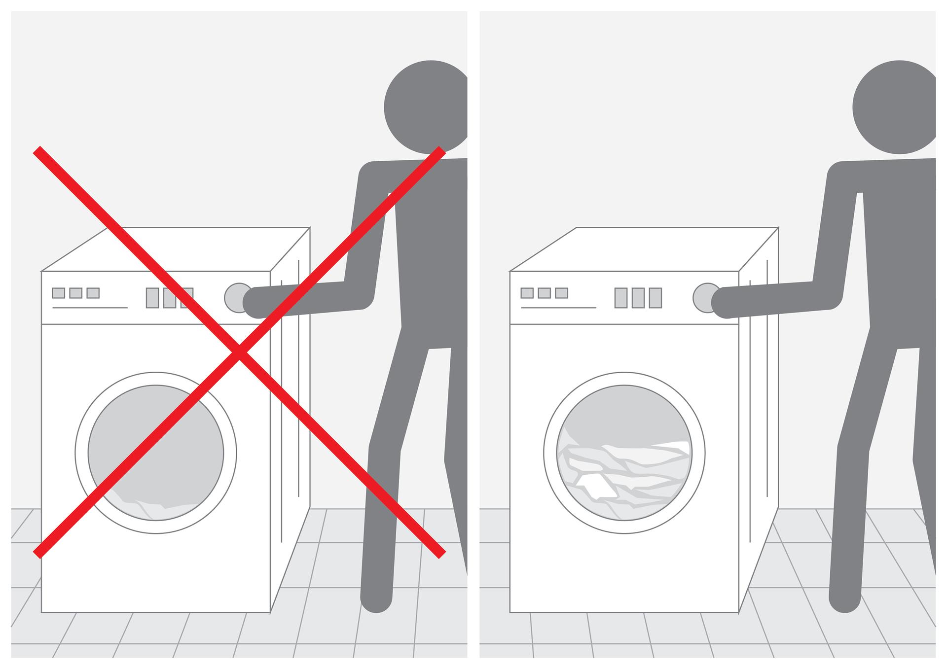 Siódma ilustracja wgalerii. Przedstawia parę czarno białych symbolicznych rysunków prezentujących sposób przygotowania prania. Na rysunku po lewej stronie człowiek włącza pralkę, wktórej znajduje się bardzo niewiele ubrań na dnie bębna. Rysunek jest przekreślony czerwonym krzyżem. Na rysunku po prawej stronie człowiek włącza pralkę, której bęben jest wypełniony do połowy ubraniami.