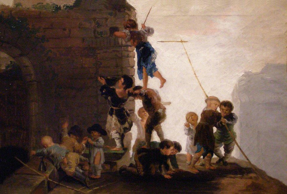 Zabawy dziecięce Dzieci szukające wruinach ptasich gniazd Źródło: Francisco Goya, Zabawy dziecięce, 1782–1785, domena publiczna.
