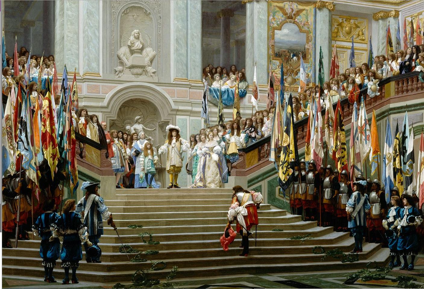 """Obraz namalowany w1878 r.pokazuje przyjęcie Wielkiego Kondeusza wWersalu przez Ludwika XIV. Kondeusz był głównym przywódcą tzw. """"frondy książęcej"""" iwalczył zabsolutyzmem reprezentowanym wówczas przez pierwszego ministra, kardynała Mazariniego.Autorem jest malarz Jean-Léon Gérôme (1824-1904). Zwróć uwagę, że obraz miał również aktualną dla czasu powstania wymowę. W1871 r. Niemcy podyktowały wWersalu Francji upokarzający pokój iogłosiły powstanie zjednoczonego Cesarstwa Niemiec. Obraz miał przypomnieć chwilę triumfu państwa francuskiego, ale też pokazać, że dawny triumfatorzy będą musieli się ukorzyć przed Majestatem Francji. Obraz namalowany w1878 r.pokazuje przyjęcie Wielkiego Kondeusza wWersalu przez Ludwika XIV. Kondeusz był głównym przywódcą tzw. """"frondy książęcej"""" iwalczył zabsolutyzmem reprezentowanym wówczas przez pierwszego ministra, kardynała Mazariniego.Autorem jest malarz Jean-Léon Gérôme (1824-1904). Zwróć uwagę, że obraz miał również aktualną dla czasu powstania wymowę. W1871 r. Niemcy podyktowały wWersalu Francji upokarzający pokój iogłosiły powstanie zjednoczonego Cesarstwa Niemiec. Obraz miał przypomnieć chwilę triumfu państwa francuskiego, ale też pokazać, że dawny triumfatorzy będą musieli się ukorzyć przed Majestatem Francji. Źródło: Jean-Léon Gérôme, 1878, domena publiczna."""