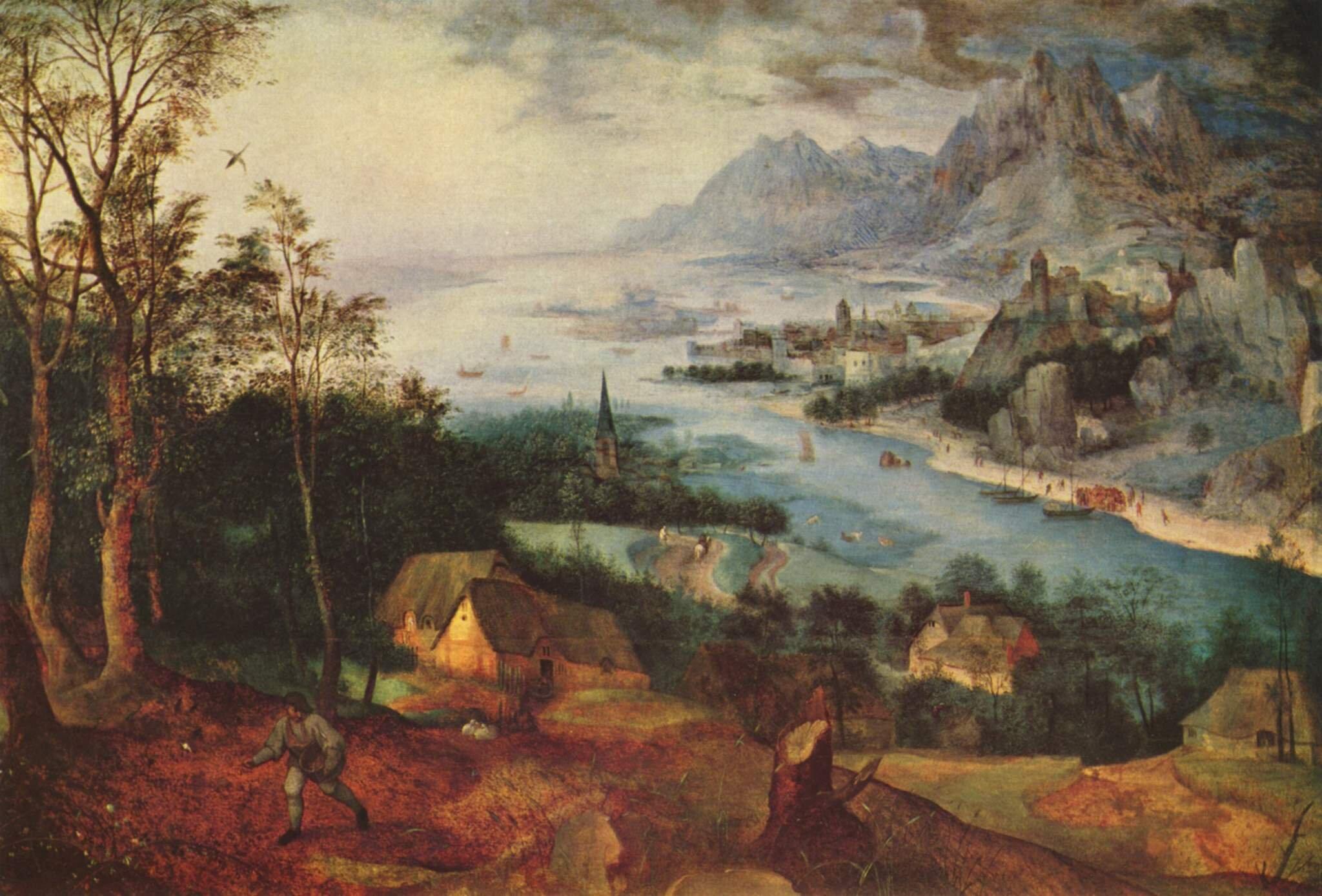 Pejzaż zprzypowieścią osiewcy Źródło: Pieter Brueghel starszy, Pejzaż zprzypowieścią osiewcy, 1557, olej na desce, Timken Art Museum, USA, domena publiczna.